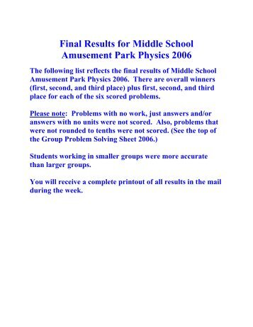 Final Results for Middle School Amusement Park Physics 2006
