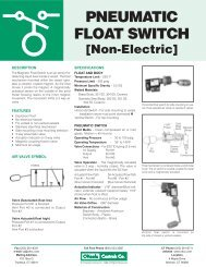 PNEUMATIC FLOAT SWITCH - O'Keefe Controls Inc