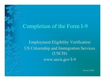 Completion of the Form I-9