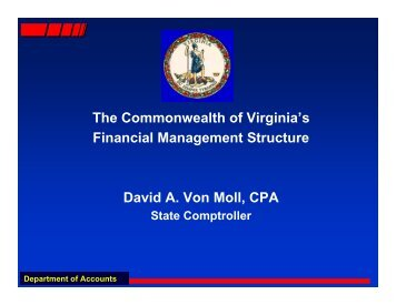 Commonwealth of Virginia Fiscal Fundamentals - Comptroller's ...