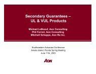 Secondary Guarantees – UL & VUL Products - Actuary.com