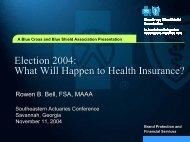Election 2004: What will happen to Health Insurance? - Actuary.com