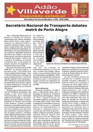 Secretário Nacional de Transporte debateu metrô de Porto Alegre