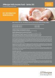 JPMorgan India Income Fund - Series 301- KIM - JP Morgan Asset ...