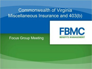 Miscellaneous Insurance and 403(b) - Virginia Department of ...
