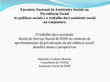 Veja a apresentação em slides de Marinete Moreira - CFESS