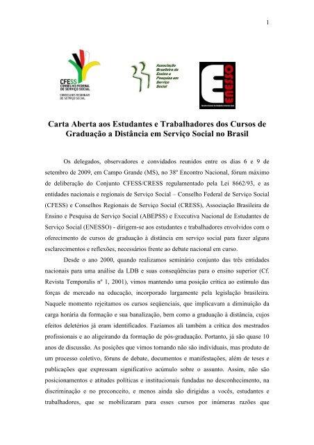 CARTA ABERTA AOS ESTUDANTES E ... - CFESS