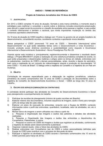 ANEXO I - TERMO DE REFERÊNCIA Projeto de Cobertura ...