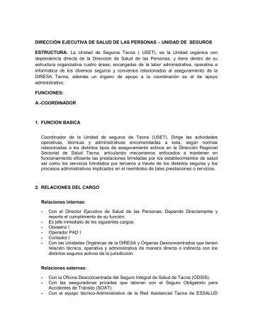 Areas a su cargo - Direccion Regional de Salud Tacna