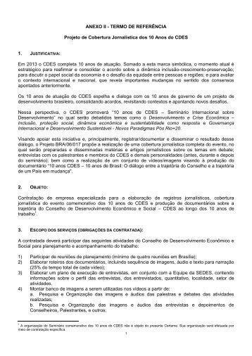 ANEXO II - TERMO DE REFERÊNCIA Projeto de Cobertura ...