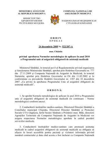 Ordin privind aprobarea Normelor metodologice de aplicare în anul ...