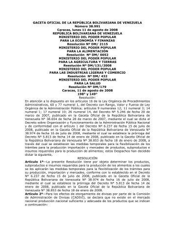 GACETA OFICIAL DE LA REPÚBLICA ... - Legis Comex