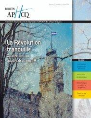 Bulletin de l'APHCQ vol 17 no 1 (hiver 2011) - Cégep du Vieux ...