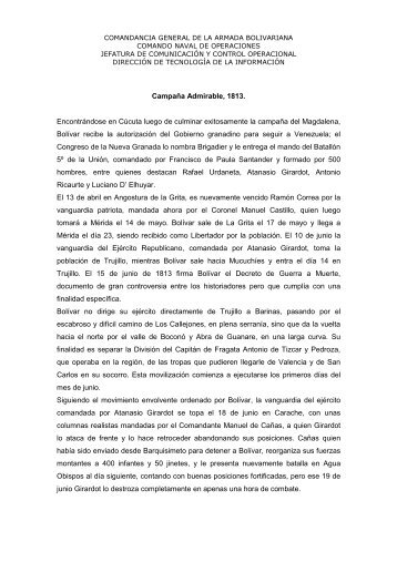 Campaña Admirable, 1813 - Armada Bolivariana de Venezuela
