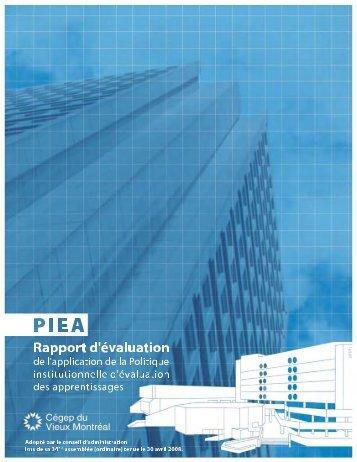 Rapport d'évaluation de l'application de la Politique institutionnelle d ...
