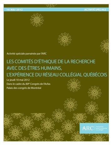 les comités d'éthique de la recherche avec des êtres humains, l ...