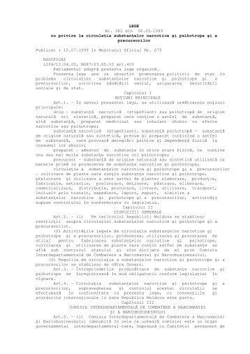 LEGE Nr. 382 din 06.05.1999 cu privire la circulaţia substanţelor ...