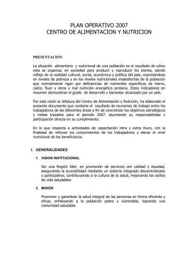 PLAN OPERATIVO 2007 CENTRO DE ALIMENTACION Y NUTRICION