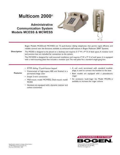 Model MCLRK LOUD RINGER KIT for MULTICOM 2000 Telephone NEW BOGEN