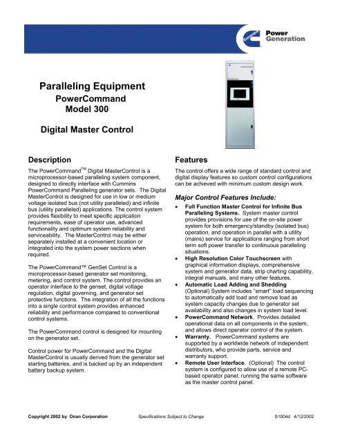 DMC Model 300 Cummins Power Generation