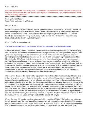 Tookey For A Ride Another silly Next-of-Kin Scam – this one is a ...
