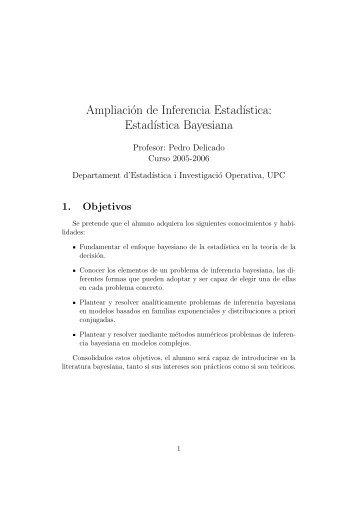 Estad´ıstica Bayesiana - Departament d'Estadística i Investigació ...