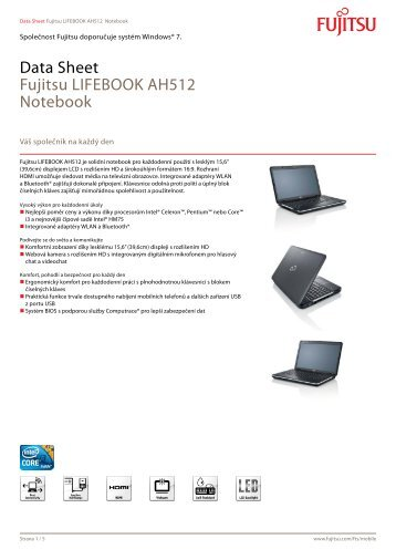 Data Sheet Fujitsu LIFEBOOK AH512 Notebook