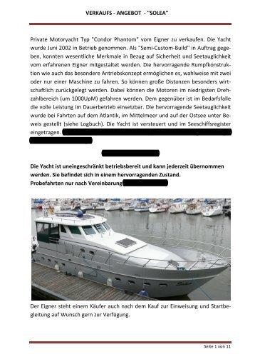 """VERKAUFS - ANGEBOT - """"SOLEA"""" Private Motoryacht  Typ ... - Boten"""