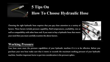 5 Tips On How To Choose Hydraulic Hose