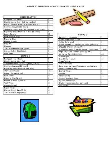 Arbor Stars School Supply List - Euclid City Schools