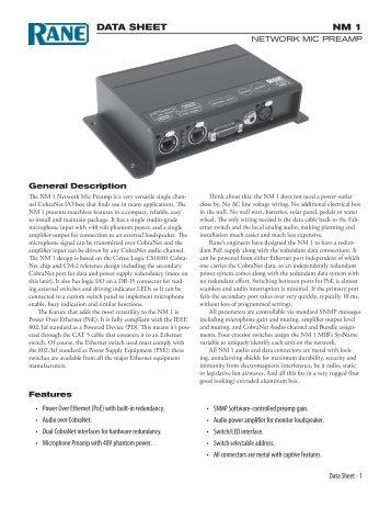 NM 1 Data Sheet   Pro Audio And Lighting