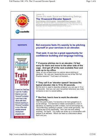 Full Practice 100 | #76. The 15-second Elevator Speech - CoachVille