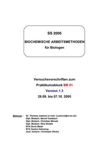 SS 2005 BIOCHEMISCHE ARBEITSMETHODEN für Biologen ...