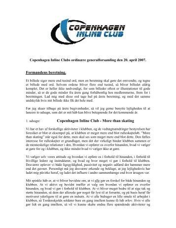 Formandens beretning 2007 - Copenhagen Inline Club