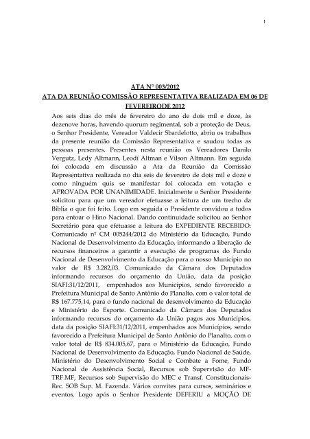 Dia 06/02/2012 - Câmara Municipal de Vereadores Santo Antônio ...