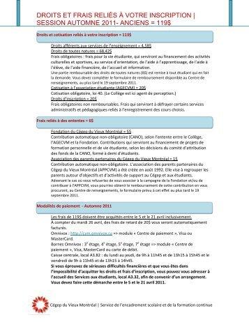 droits et frais reliés à votre inscription   session automne 2011