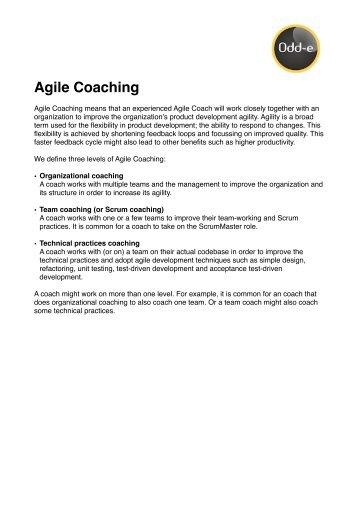 three levels of agile coaching paper. - Odd-e