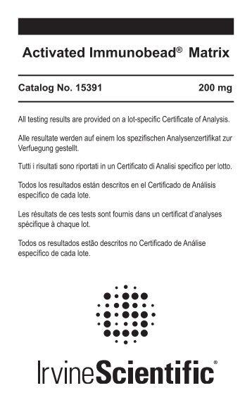 Activated Immunobead® Matrix - Irvine Scientific