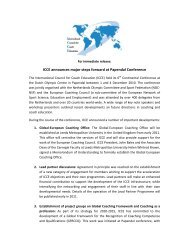 the news release (pdf) - International Council for Coach Education