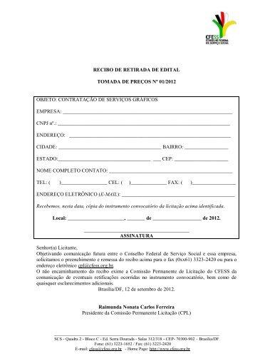 recibo de retirada de edital tomada de preços nº 01/2012 objeto