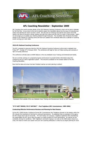 AFL Coaching Newsletter - September 2009 - AFL Community