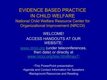 evidence based practice in child welfare - Muskie School of Public ...