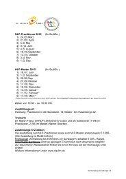 NLP-Practitioner 2012 (9x Sa.&So.) 1) 24./25.März 2) 21./22. April 3 ...
