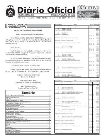 Sumário - Diário Oficial