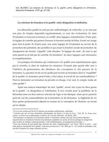 VIAL le formateur et la qualité 2001.pdf - ArianeSud Entreprendre ...