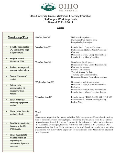 Workshop Tips - Athletic Administration and Coaching Education ...