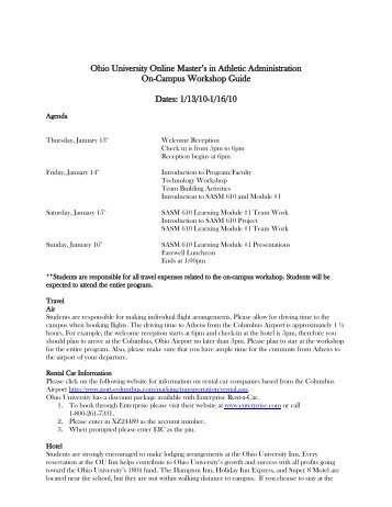 Ohio University Online Master's in Athletic Administration On ...