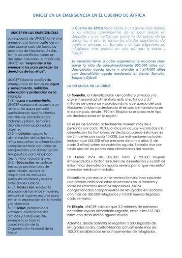 UNICEF EN LA EMERGENCIA EN EL CUERNO DE ÁFRICA