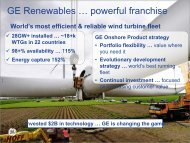GE Renewables … powerful franchise - Clean Energy Expo