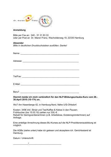 NLP-BU-Anmeldung 10_AGB - NLP in Hamburg :: Dr. Maren Franz